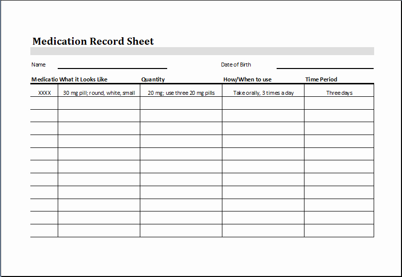 Editable & Printable Excel Medication Record Sheet