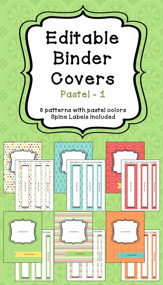Editable Binder Covers & Spines In Pastel Colors Part 1
