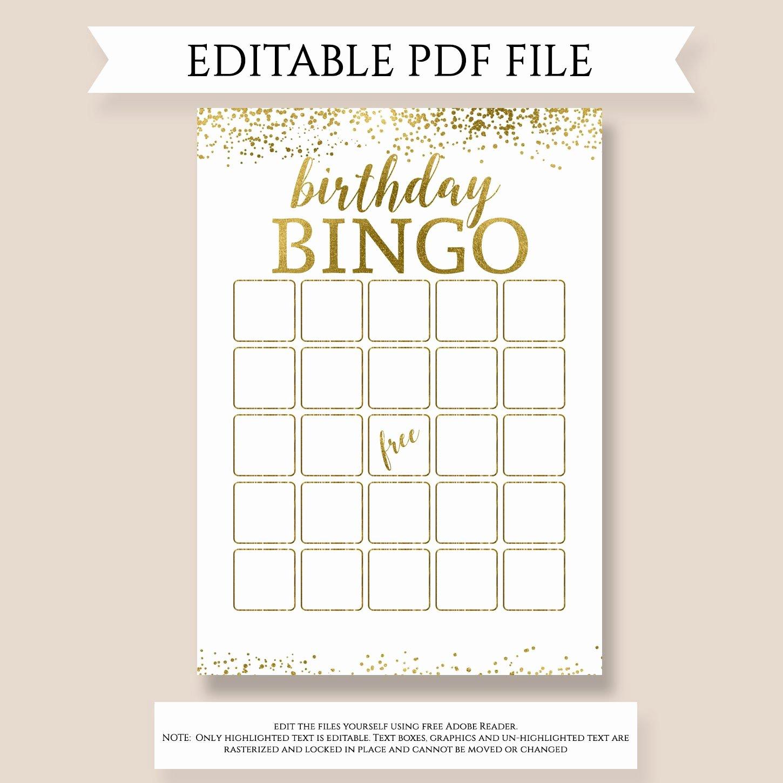Editable Birthday Bingo Birthday Gift Bingo Game Girl