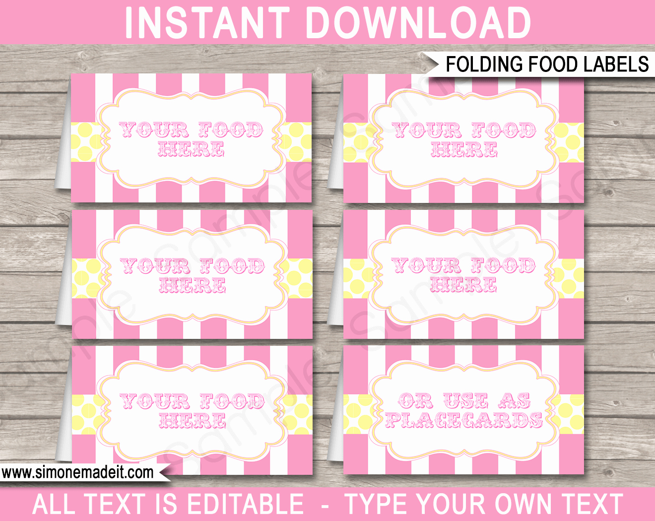 Editable Carnival Food Labels Place Cards
