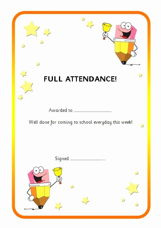 Editable Certificate to Reward Good attendance