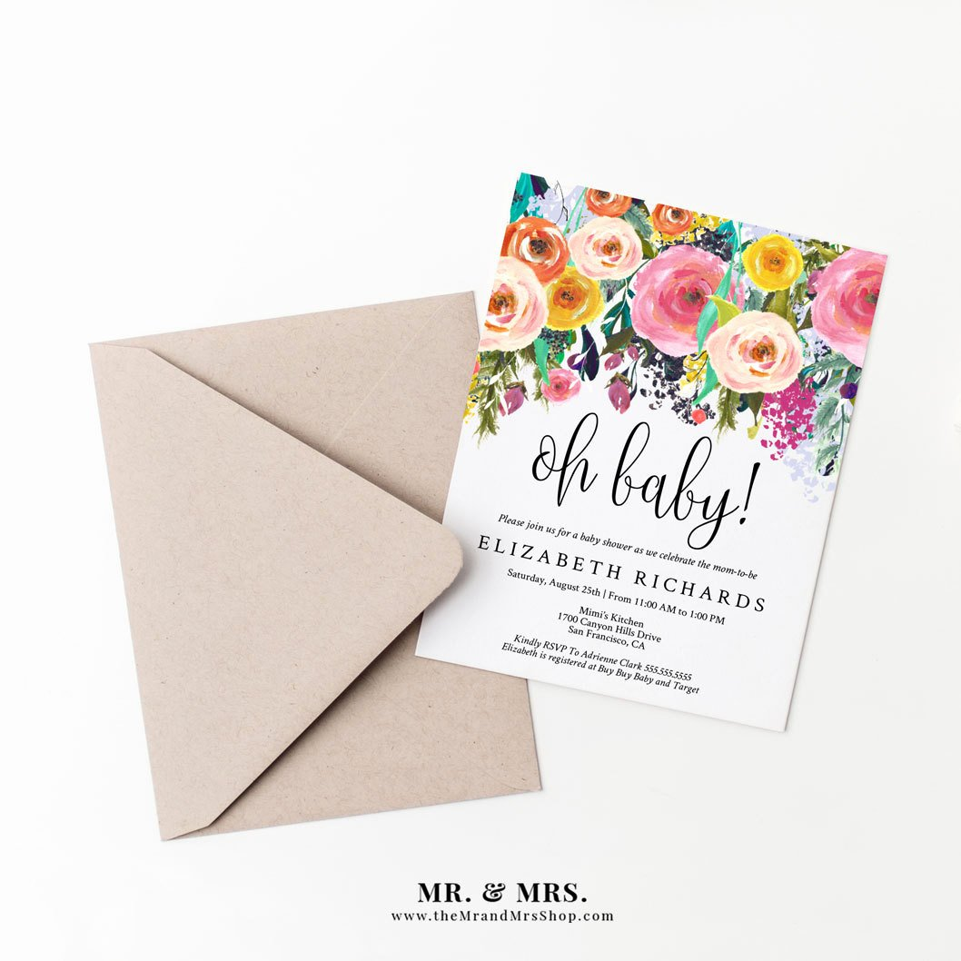 Editable Floral Oh Baby Baby Shower Invitation Template Diy