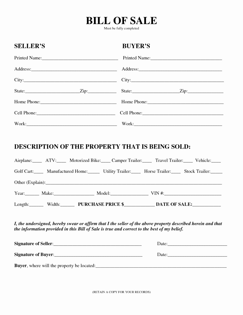 Editable General Bill Sale Template form for Selling