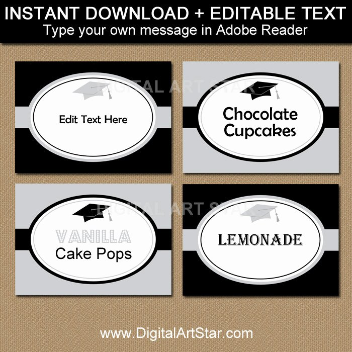 Editable Graduation Name Cards Buffet Cards Food Labels