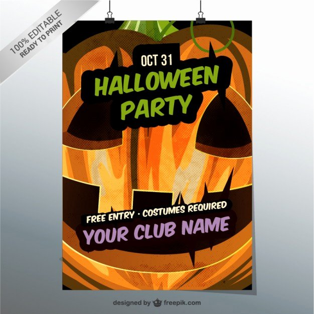 Editable Halloween Party Flyer Template Vector