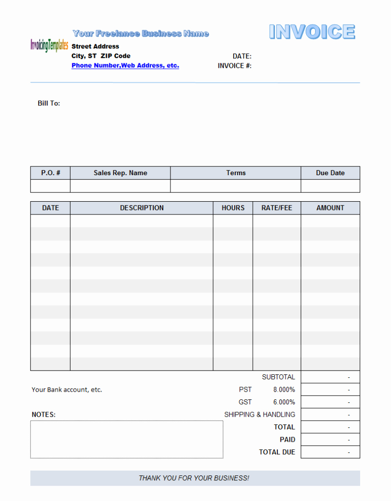 Editable Invoice Template
