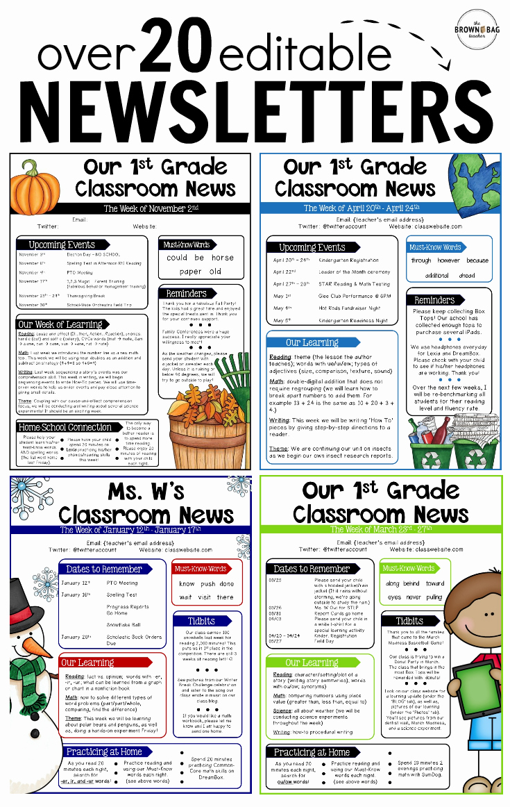 Editable Newsletter Templates Back to School