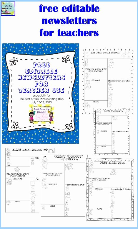 Editable Newsletters for Teachers Five Templates Free Pdf