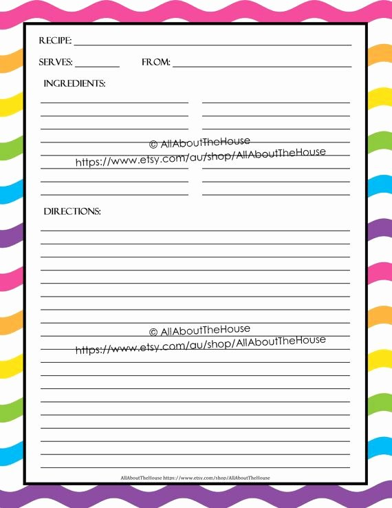 Editable Printable Recipe Card Template Pdf Sheet
