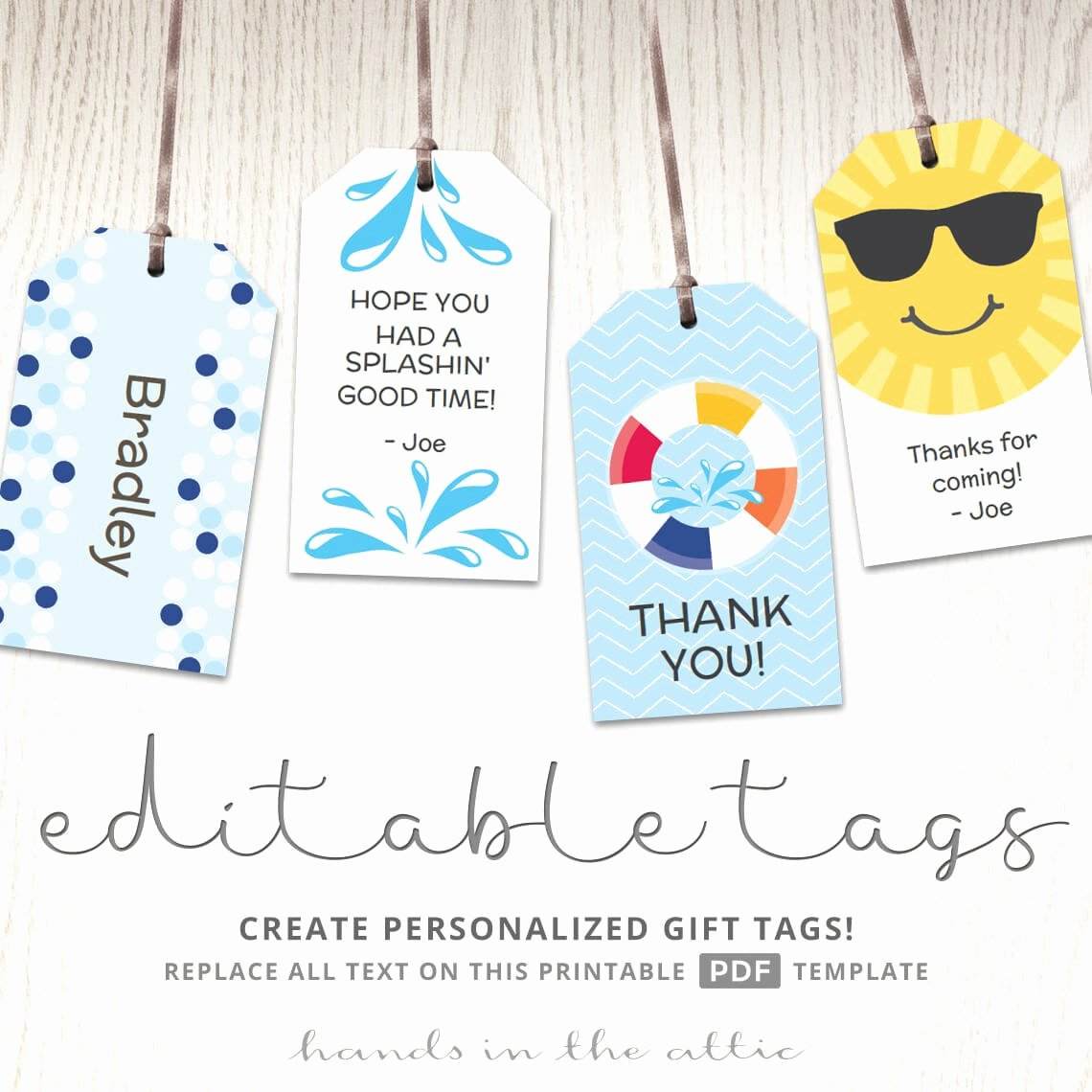 Editable T Tags T Tag Template Favor Tags Pool Party