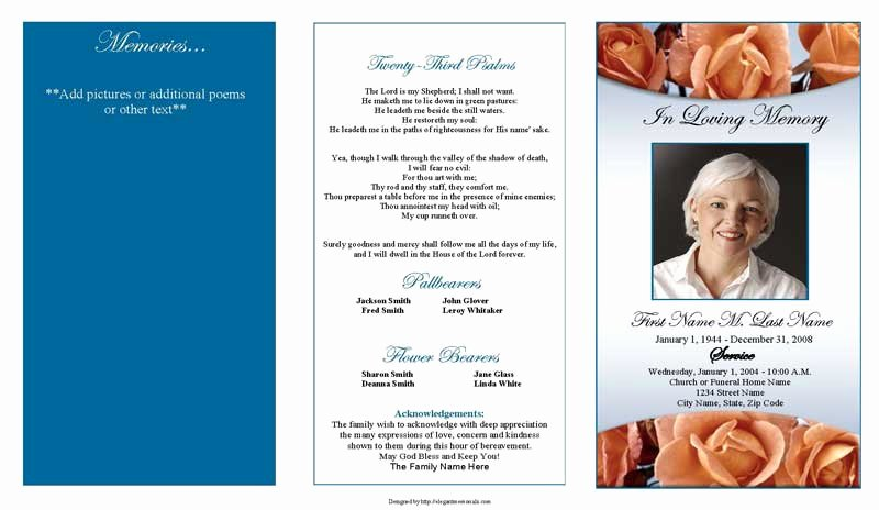 Editable Trifold Blank Funeral Program Template with Blue