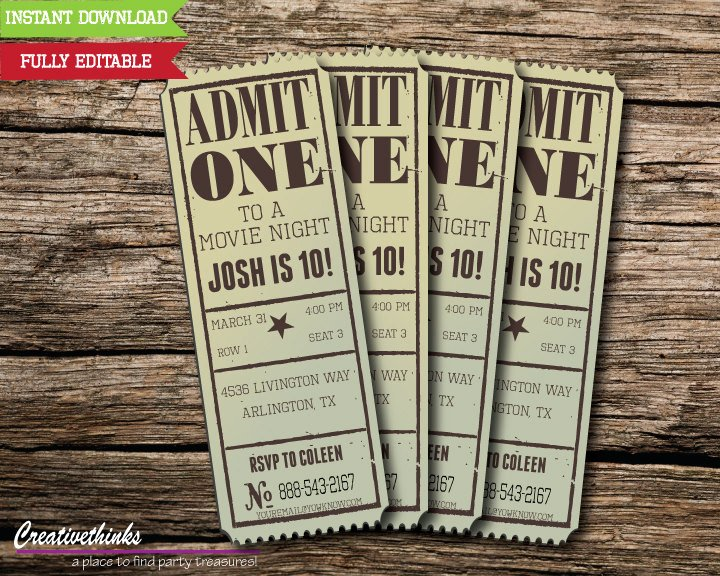 Editable Vintage Movie Ticket Invitation Digital File