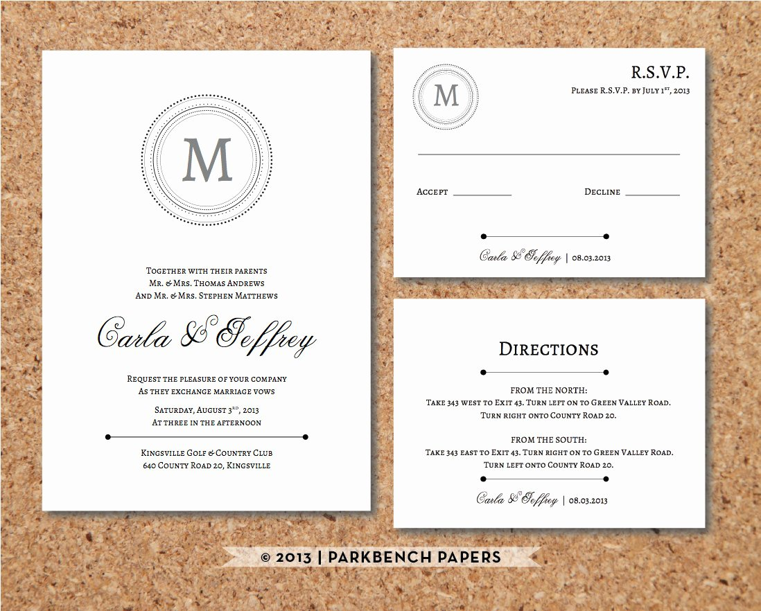 Editable Wedding Invitation Rsvp Card and by