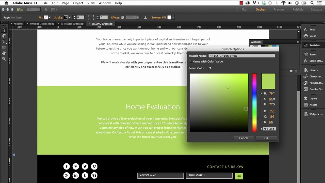 Editing An Adobe Muse Template