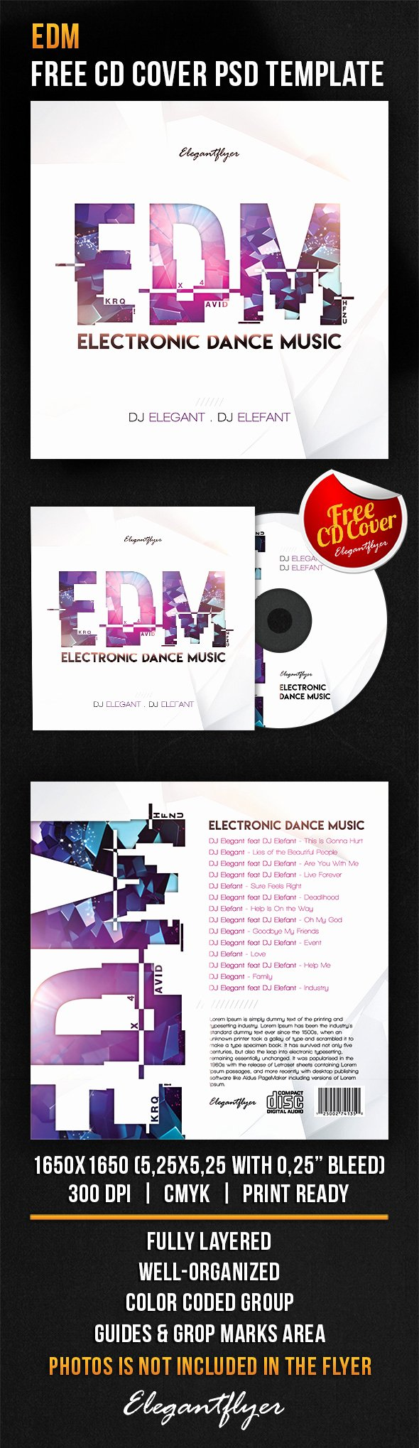 Edm – Free Cd Cover Psd Template – by Elegantflyer