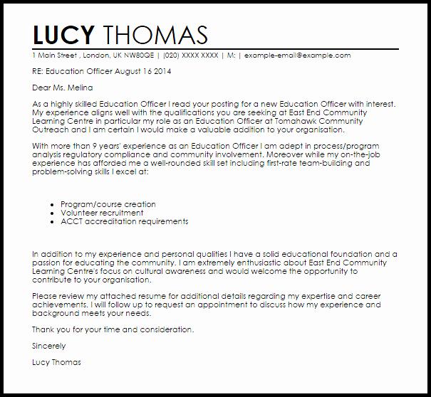 Education Ficer Cover Letter Sample
