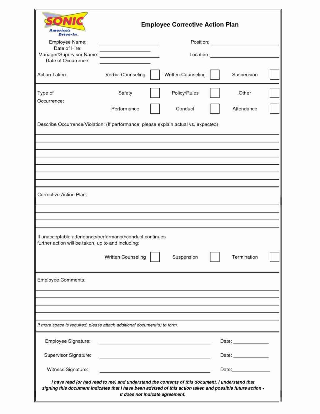 Effective and Blank Employee Action Plan Template Ms Word