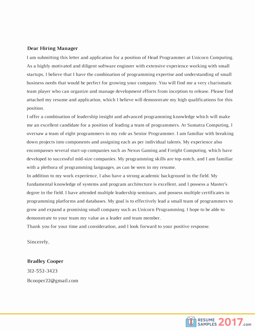 Effective Cover Letter Samples 2018