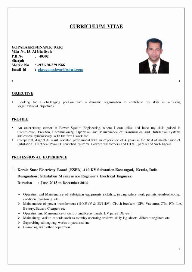Electrical Engineer Cv