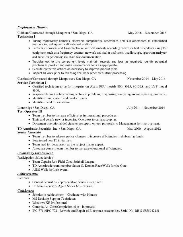 Electrical Engineer Electronics Technician Resume