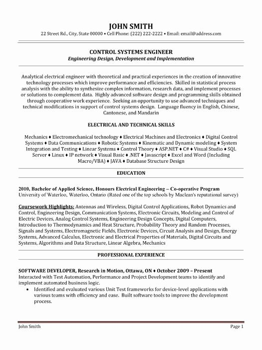 Electrical Engineer Entry Level Resume