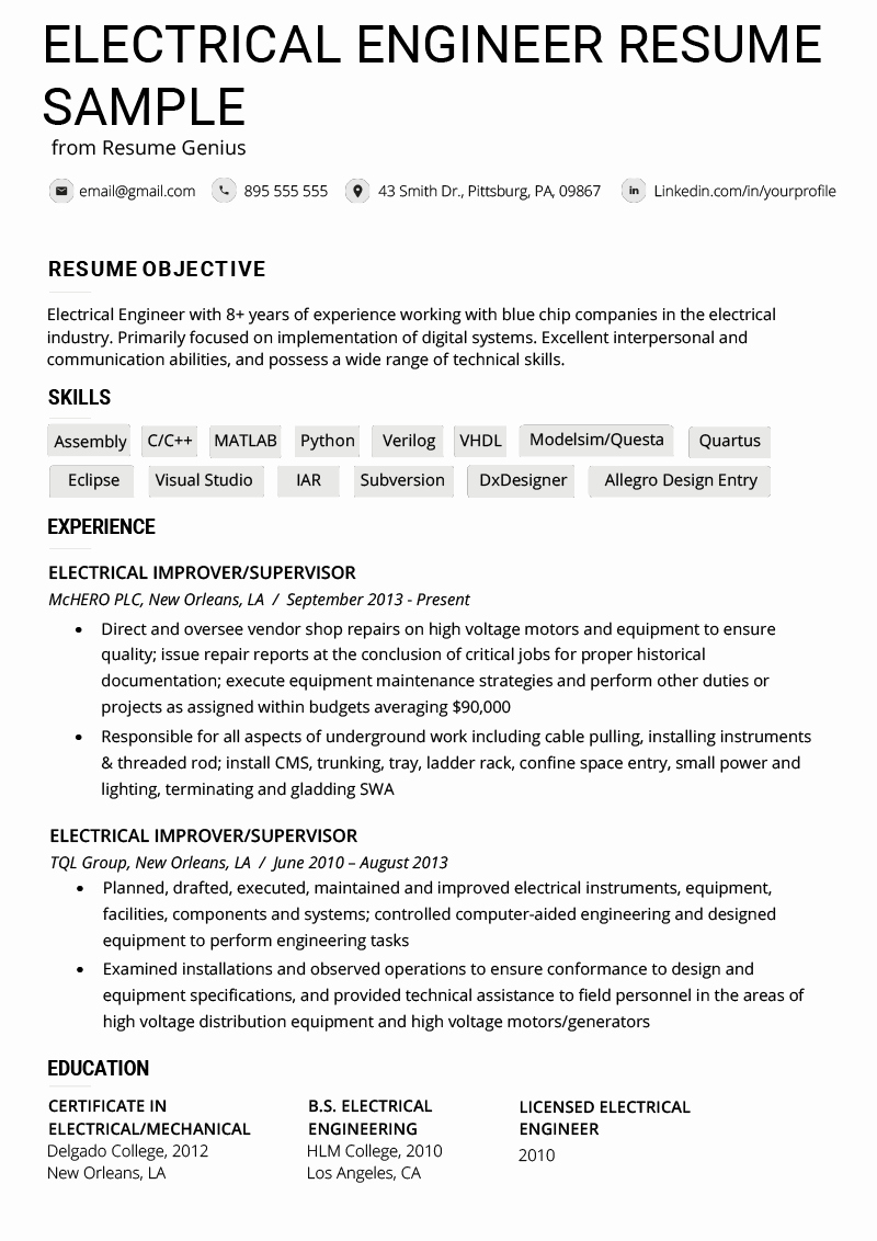 Electrical Engineer Resume Example & Writing Tips