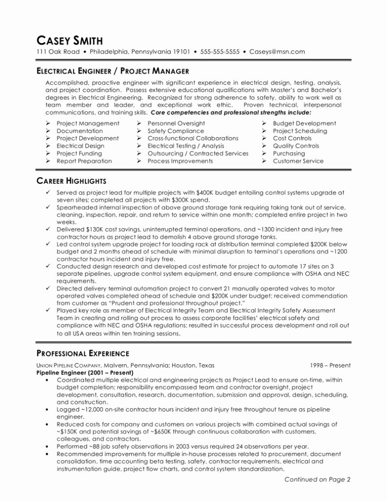 Electrical Engineer Resume Sample for Fresh College