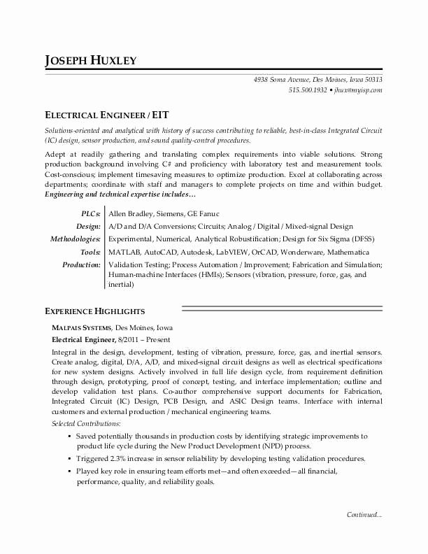Electrical Engineer Resume Sample