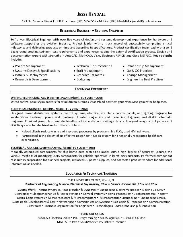 Electrical Engineering Cv Objective Resume Builder