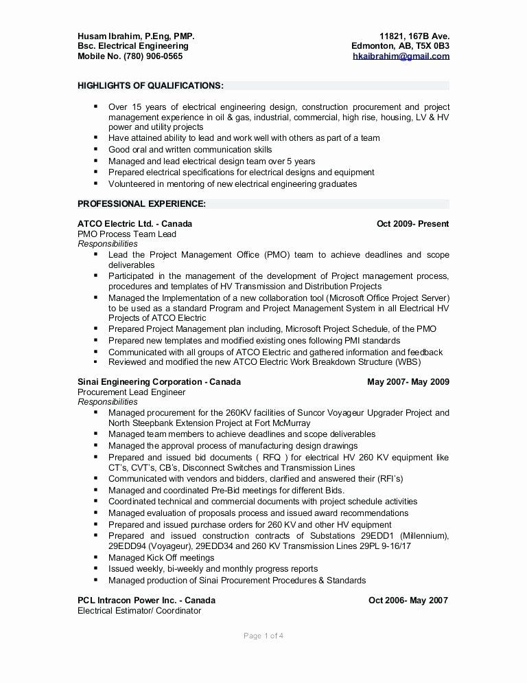 Electrical Engineering Resume Example – Bezholesterol