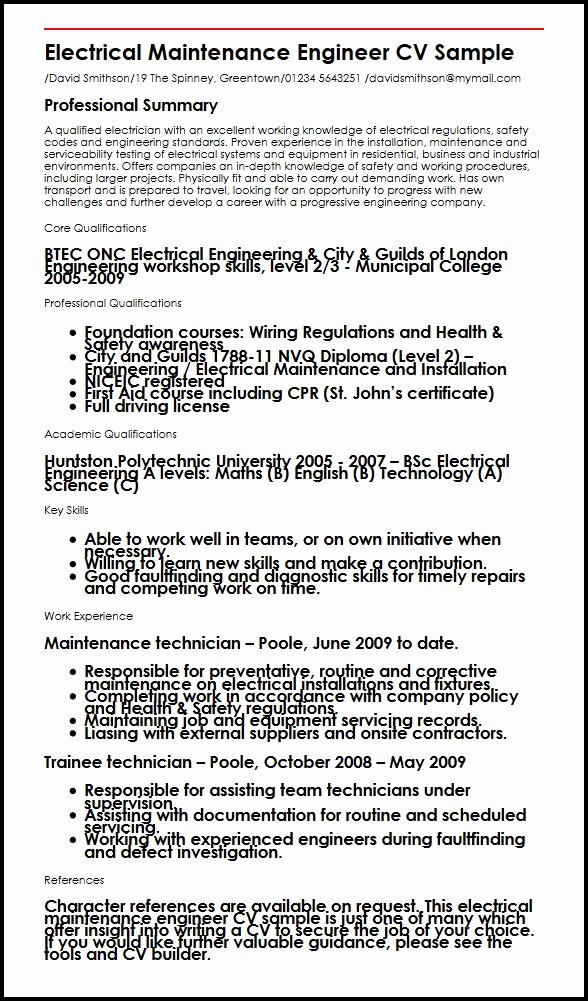 Electrical Maintenance Engineer Cv Sample