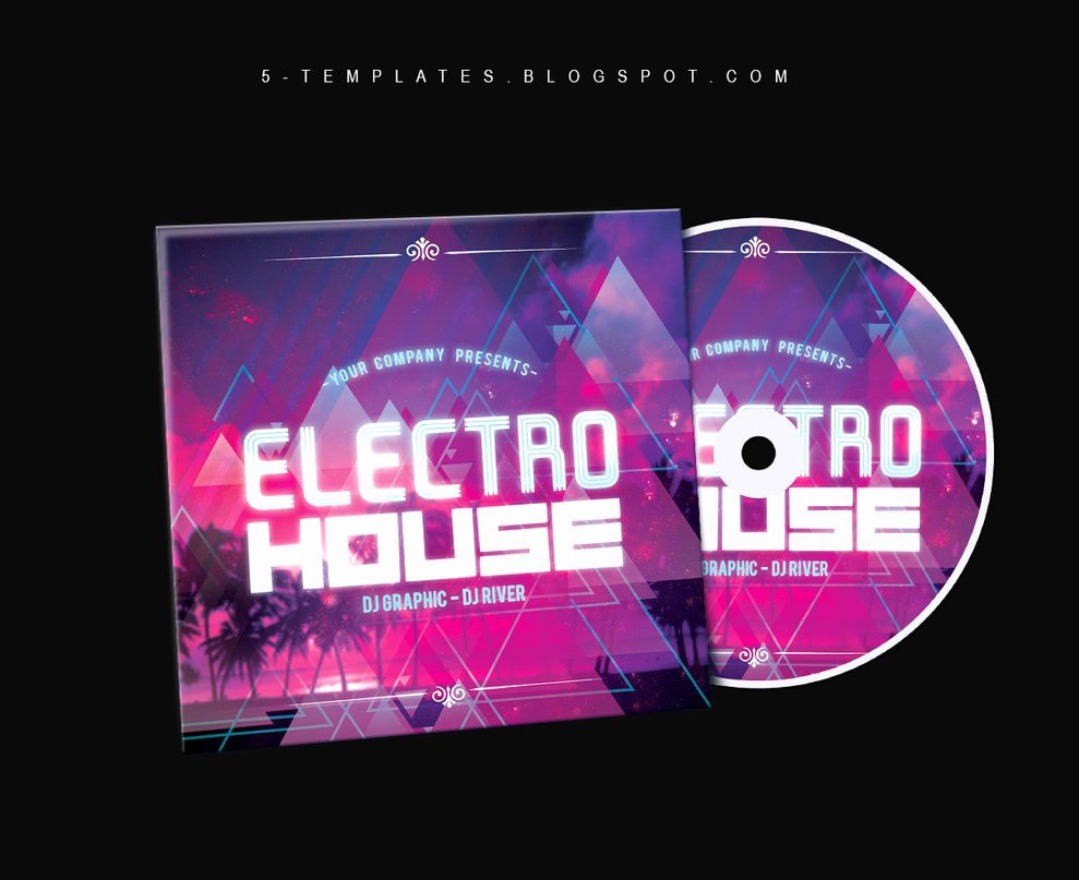 Electro House Cd Cover Free Psd Template by Klarensm On