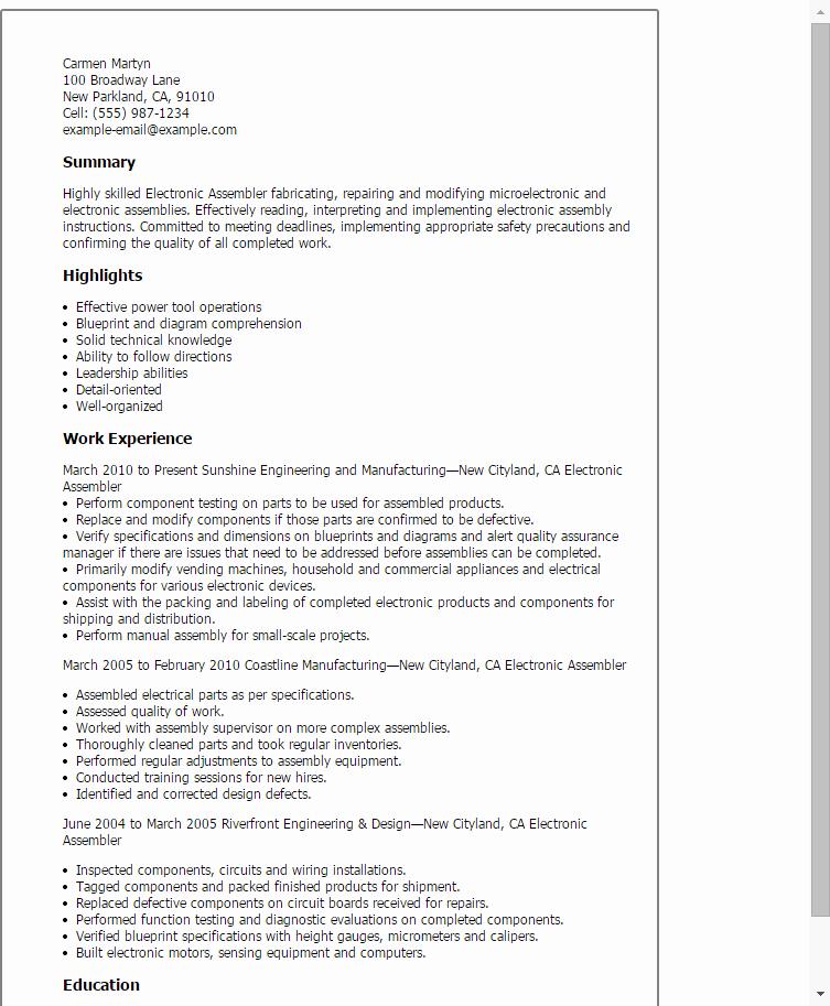 Electronic assembler Resume Template — Best Design & Tips