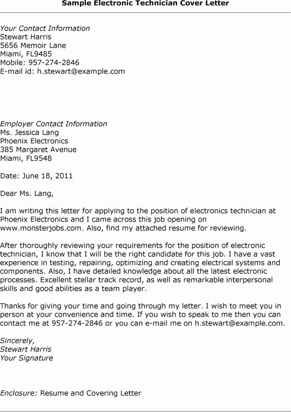 Electronic Cover Letter format Best Template Collection