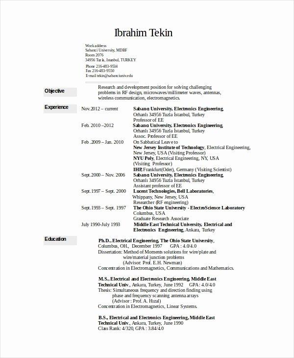 Electronics Resume Template 8 Free Word Pdf Document