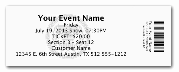 Elegant Admission Ticket Template Example with event Name