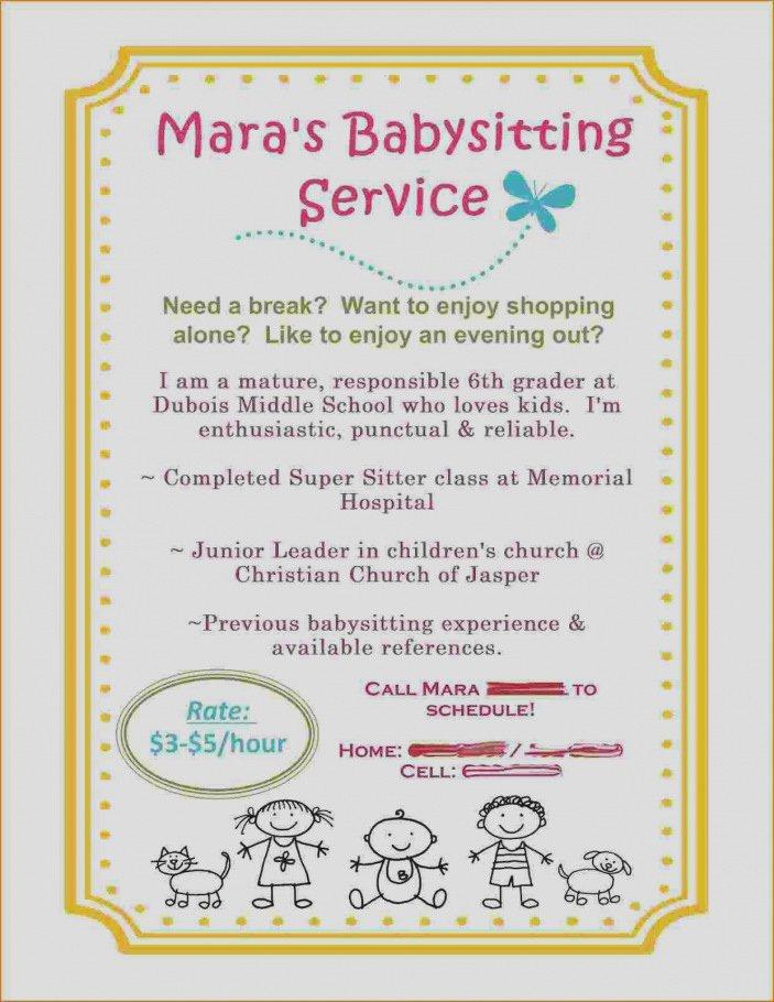 Elegant Babysitter Flyer Template Free Creative Cute