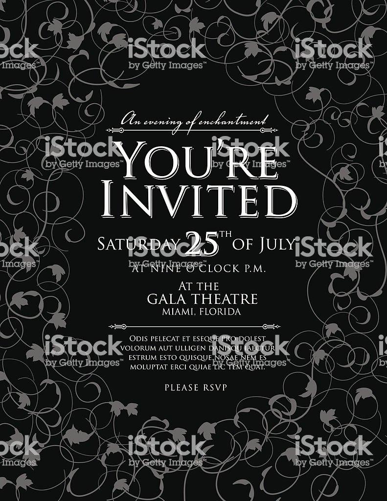 Elegant Black and White Invitation Design Template Stock Vector Art & More Of Black and