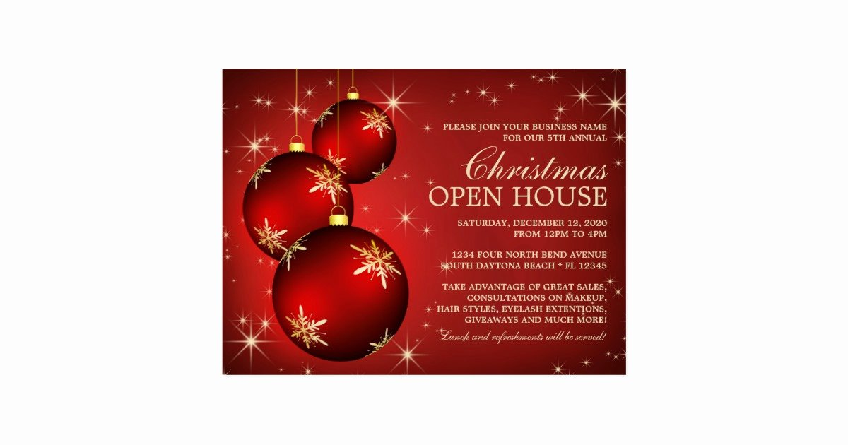 Elegant Christmas Open House Invitation Template Postcard