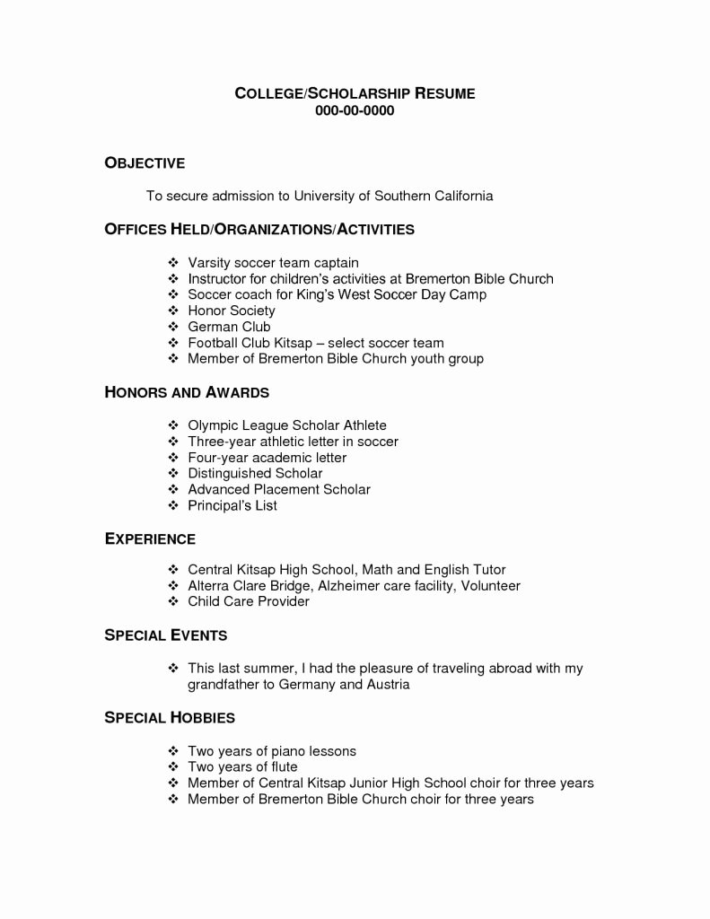Elegant College Scholarship Resume Template Vcuregistry