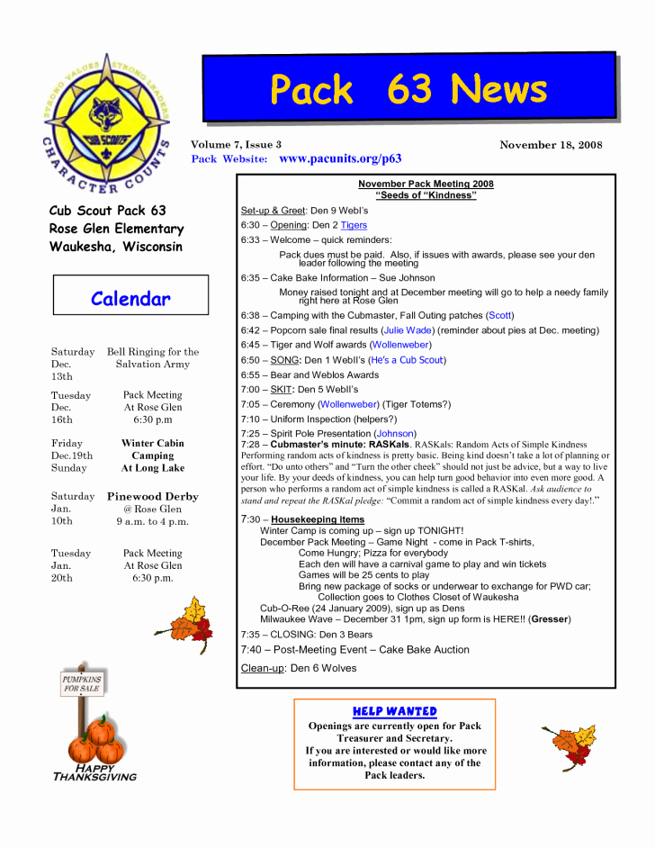 Elegant Cub Scout Newsletter Template software Game Us and