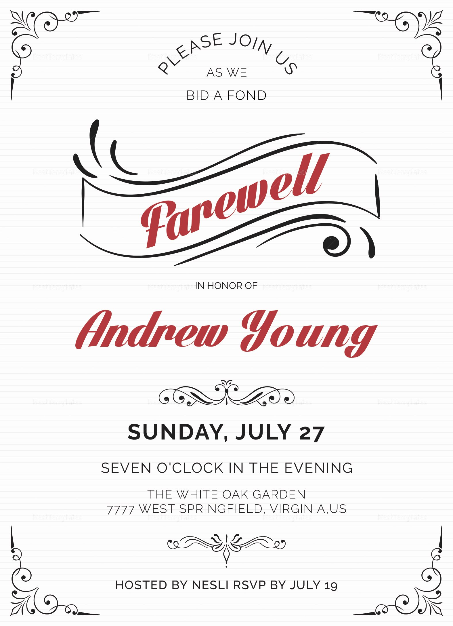 Elegant Farewell Party Invitation Design Template In Word
