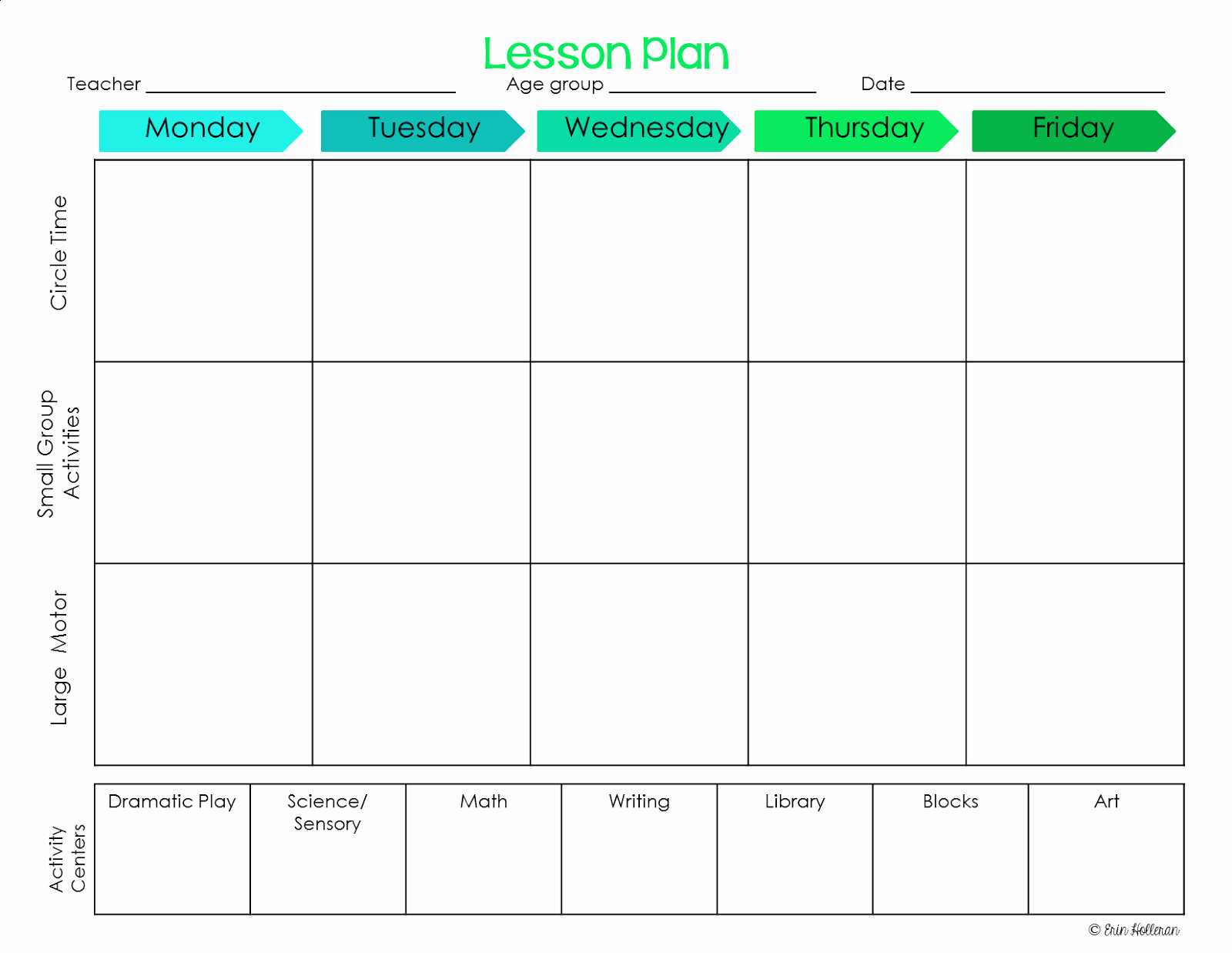 Elegant Free Printable Preschool Lesson Plan Template