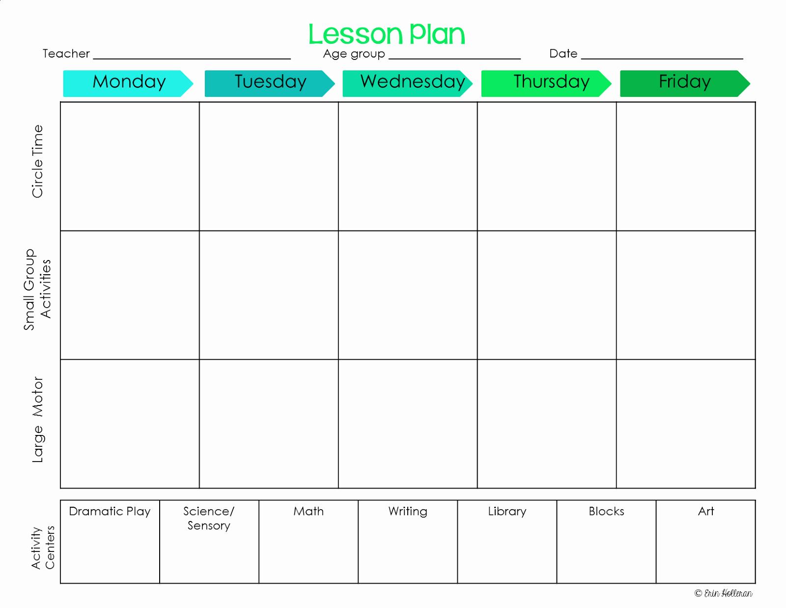 Elegant Free Printable Preschool Lesson Plan Template