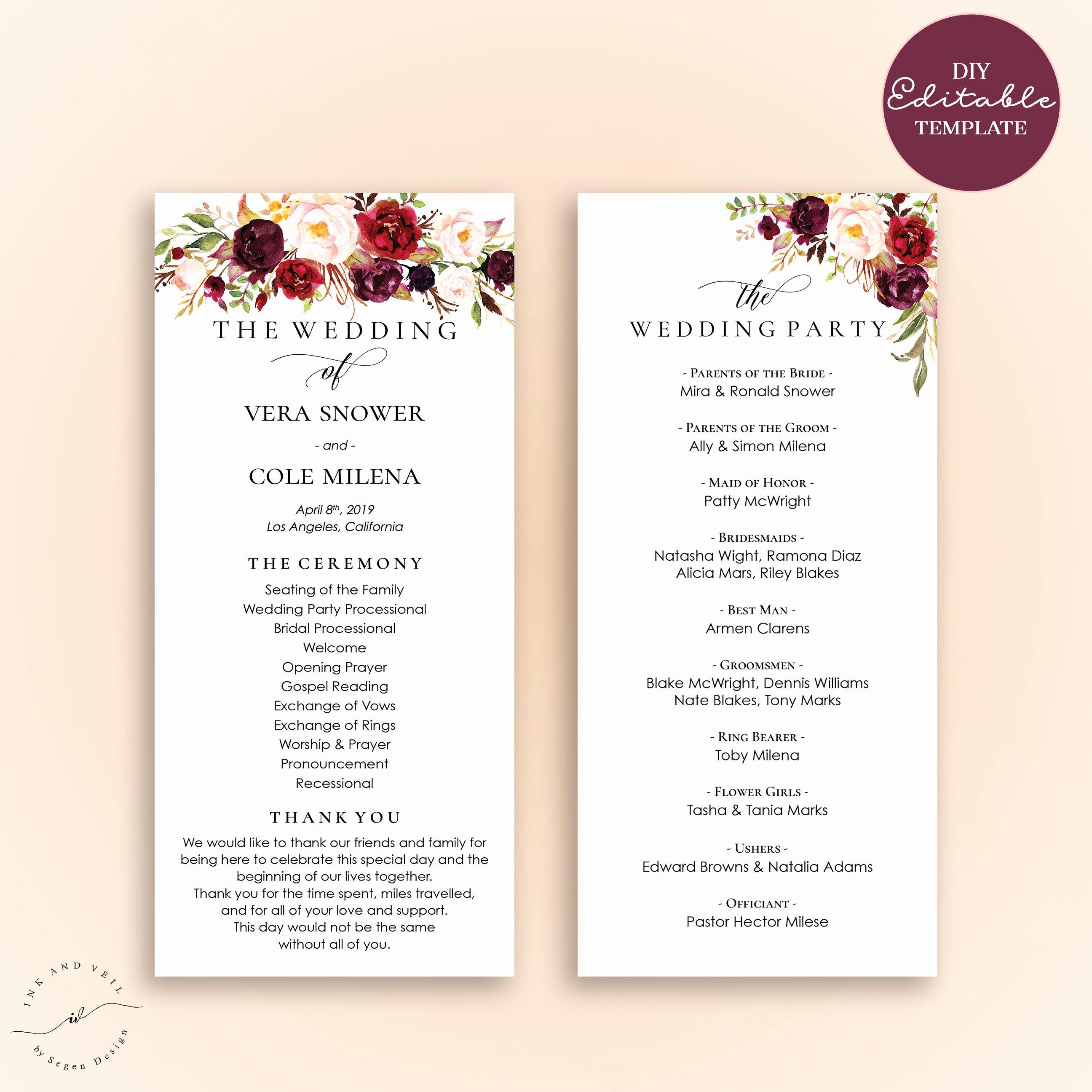 Elegant Free Printable Wedding Programs