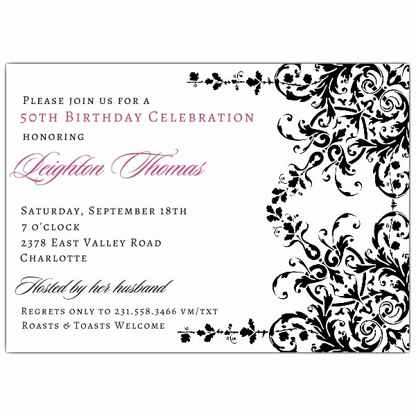 Elegant Garland Black and White Birthday Invitations