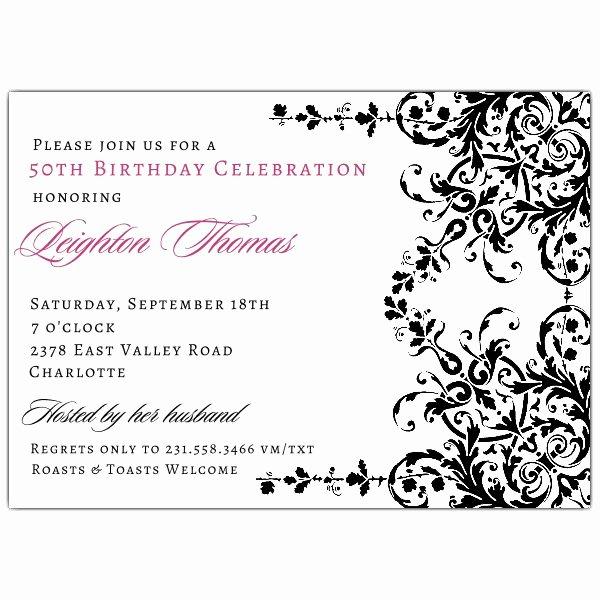 Elegant Garland Black and White Birthday Invitations