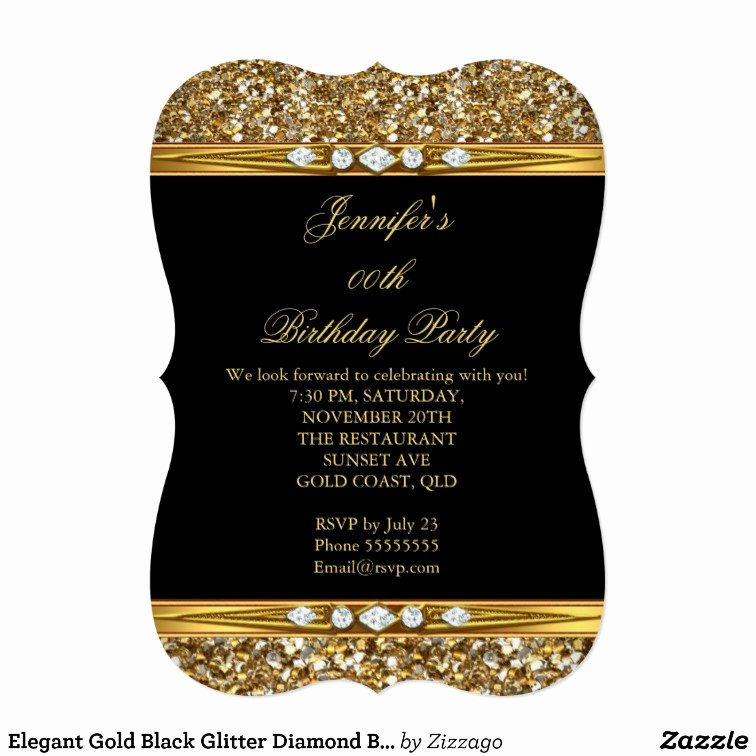 Elegant Gold Black Glitter Diamond Birthday Party 13 Cm X