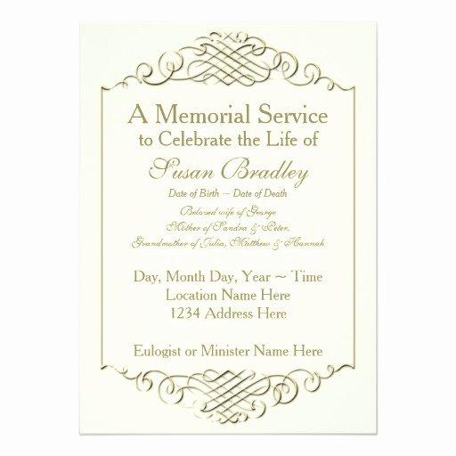 Elegant Golden Vintage Frame Memorial Service 4 5x6 25
