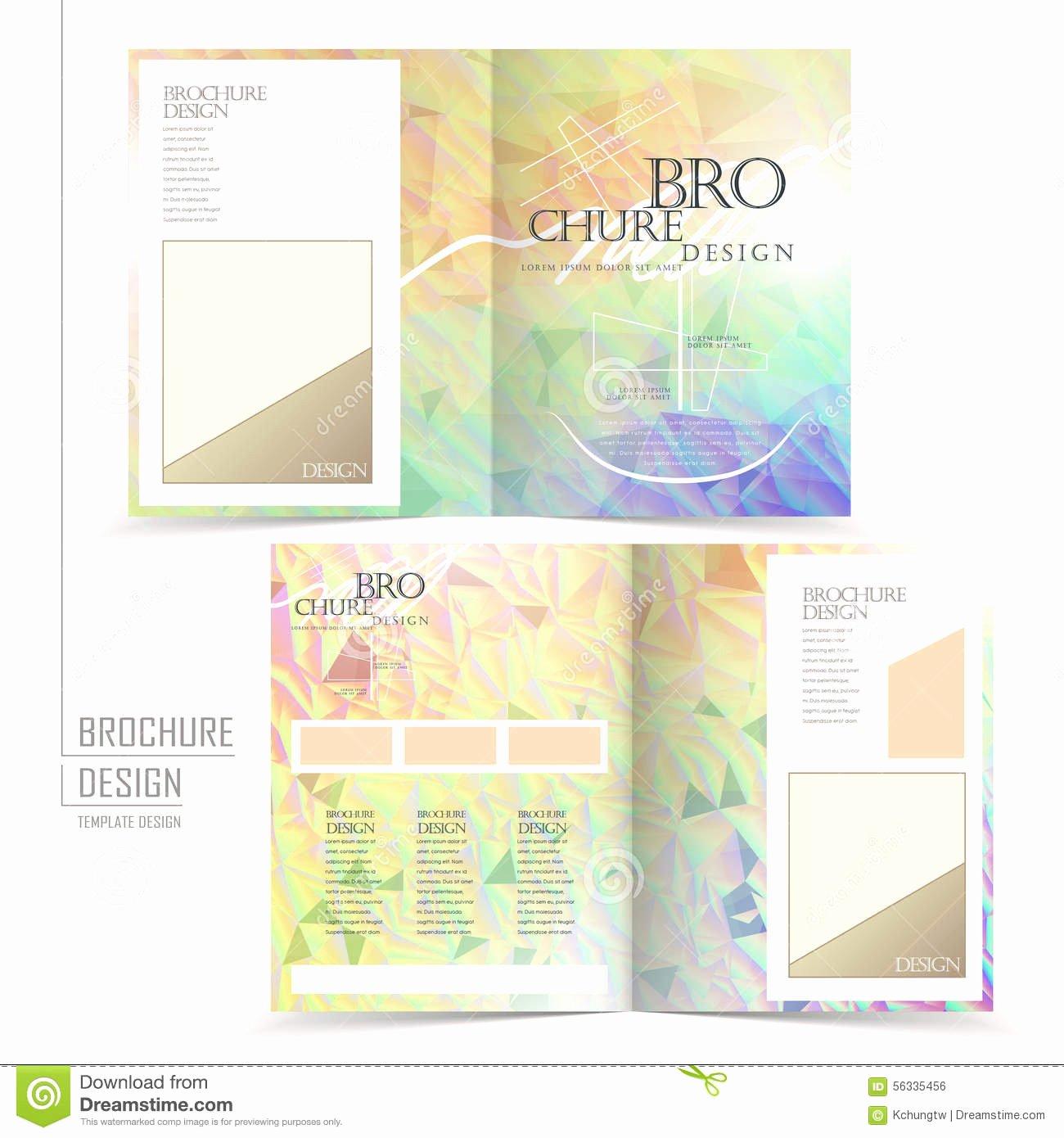 Elegant Half Fold Brochure Template Design Stock Vector